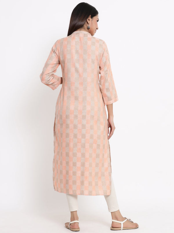 ZOLA Peach Checkered A-Line Kurti for Women