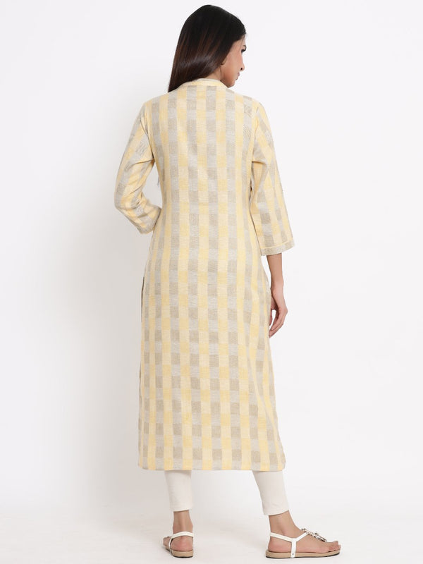 ZOLA Lemon Checkered A-Line Kurti for Women