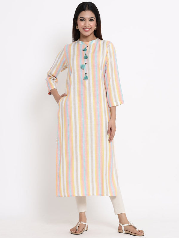 ZOLA Multi Striped A-Line Kurti With Tassels for Women