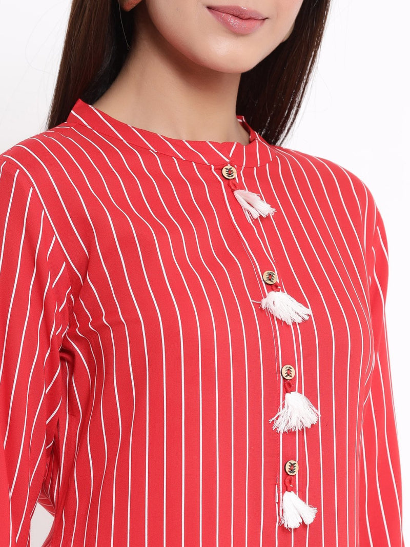 ZOLA Red Striped A-Line Kurti With Tassels for Women
