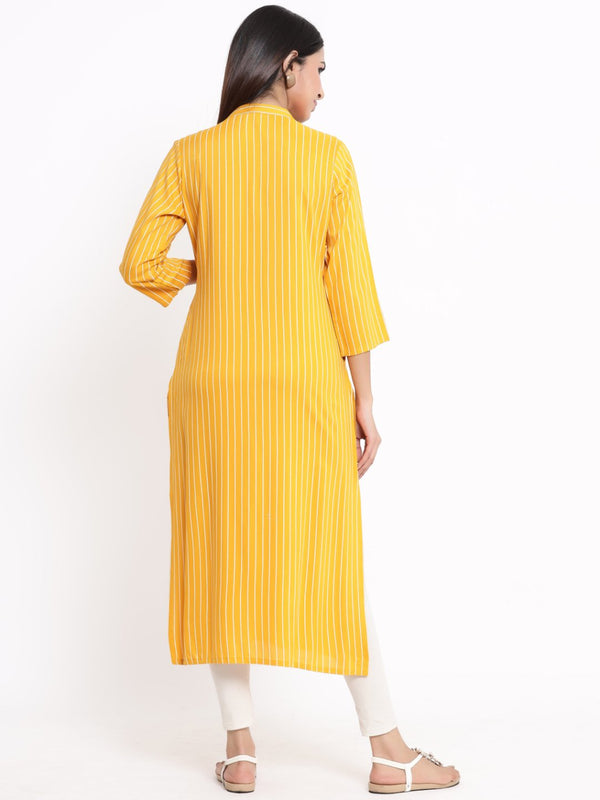 ZOLA Mustard Striped A-Line Kurti With Tassels for Women