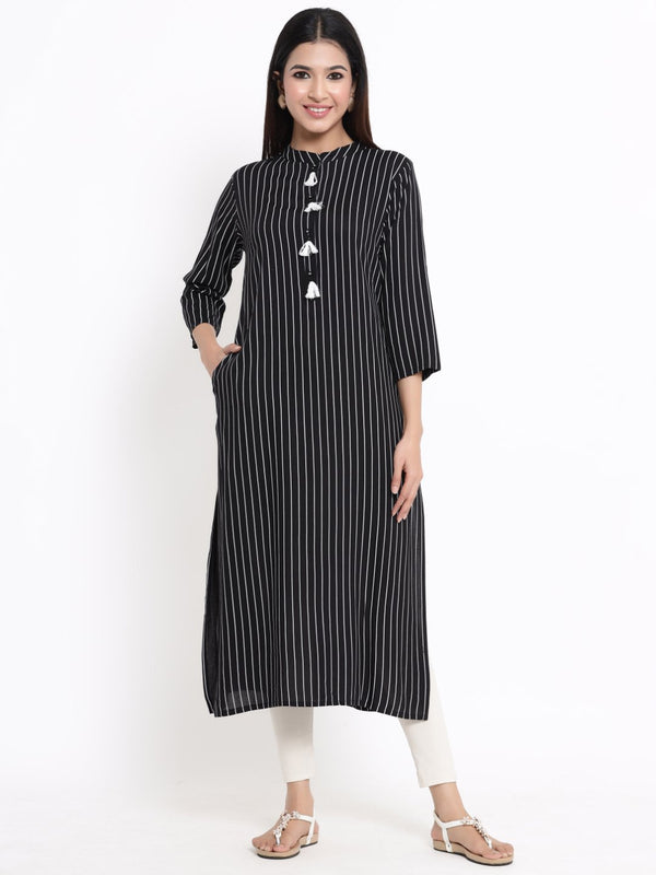 ZOLA Black Striped A-Line Kurti With Tassels for Women