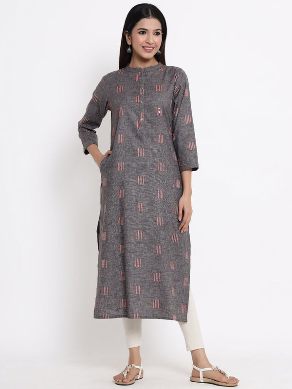 ZOLA Grey Textured A-Line Kurti for Women