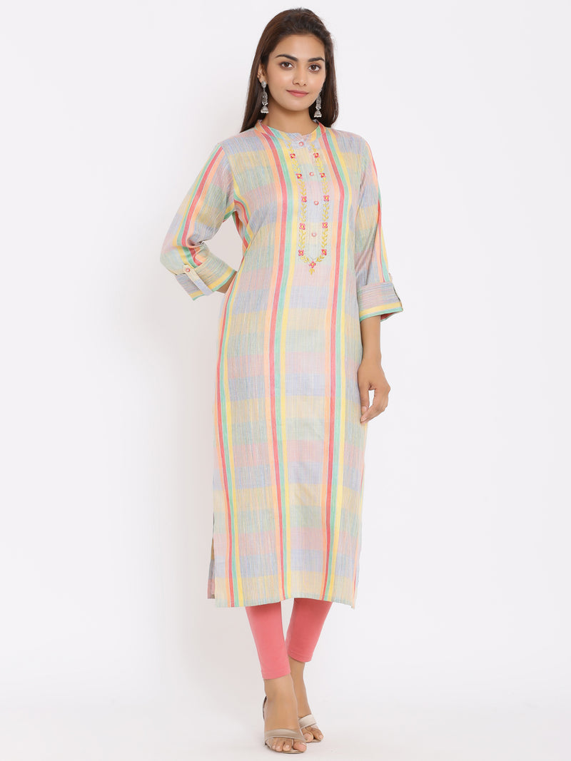 ZOLA Multi Hand Embroidered Kurta for Women