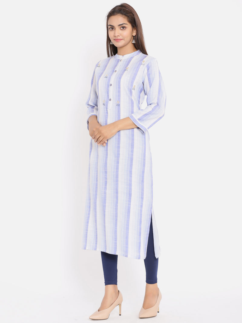 ZOLA Blue Hand Embroidered Striped Kurta for Women