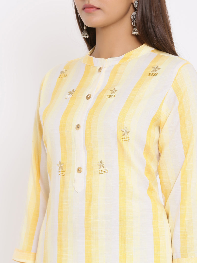 ZOLA Hand Embroidered Striped Kurta for Women