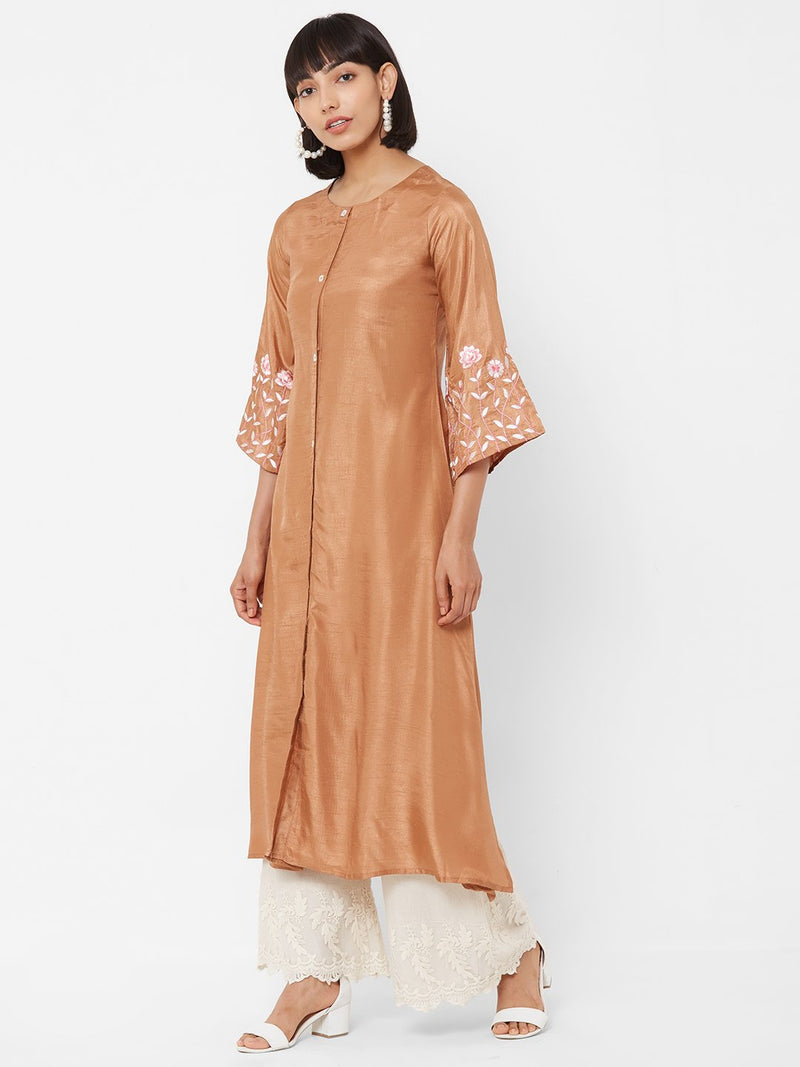 ZOLA A-Line Silk Kurti with Embellished Bell Sleeves