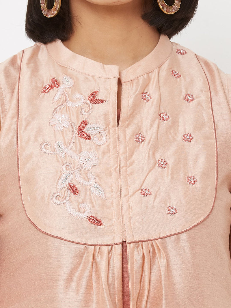 Two-Layered Flared Kurti with Embellishments Peach