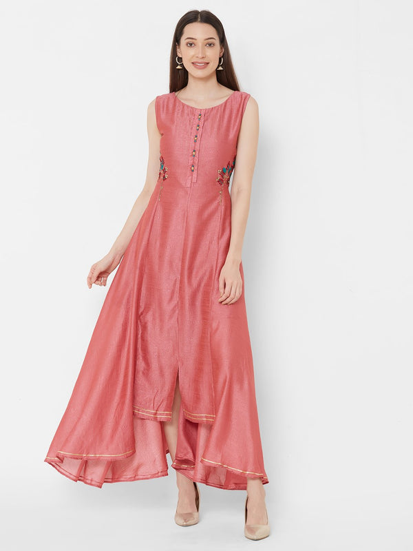 ZOLA Pink Synthetic High-Low Long Kurti with Embroidery
