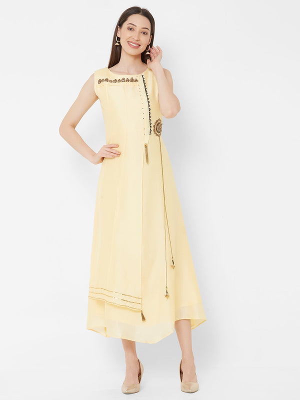 ZOLA Yellow Synthetic Asymmetrical Long Kurti with Embroidery