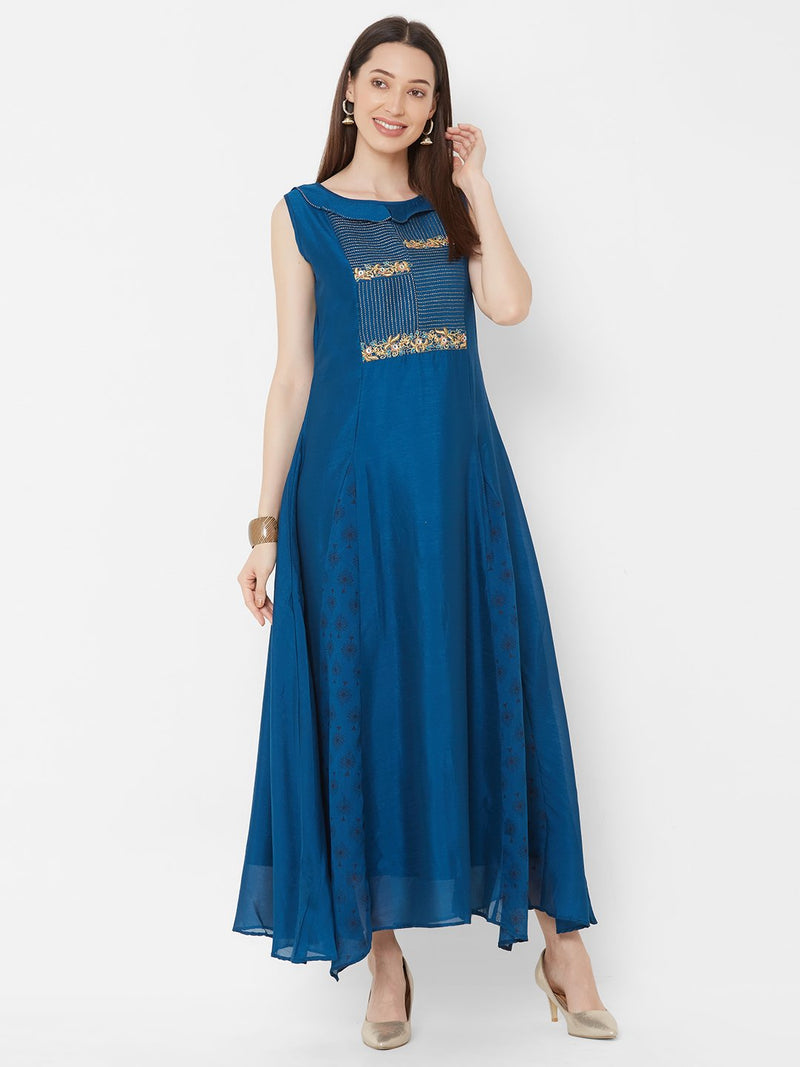 ZOLA Blue Synthetic Drop corner Flowy Long Kurti with Embroidery