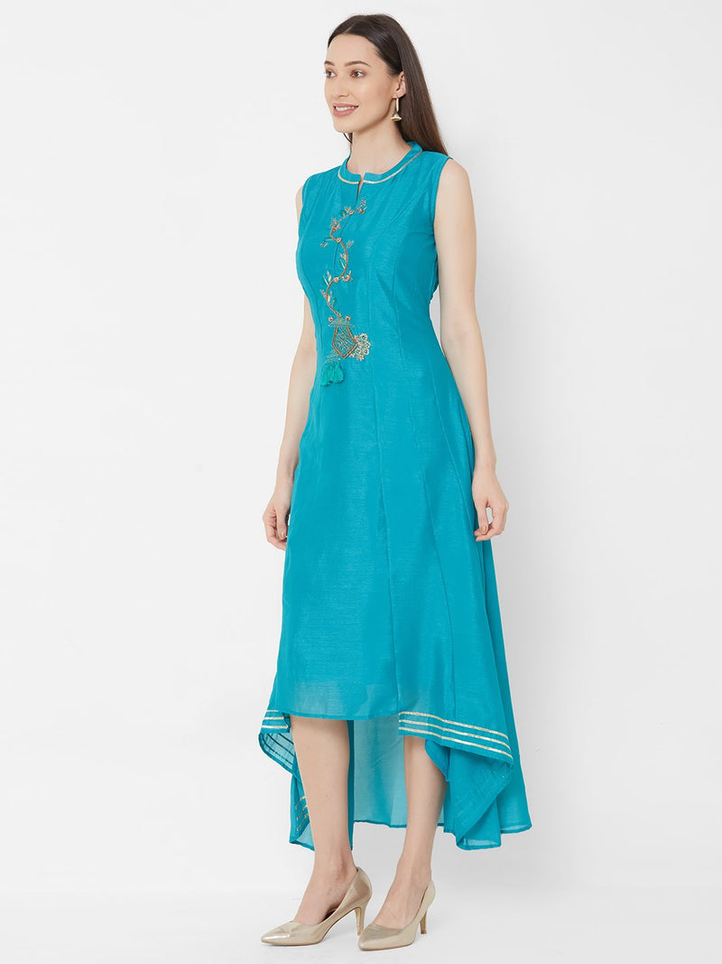 ZOLA Synthetic High-Low Flowy Long Kurti with Embroidery