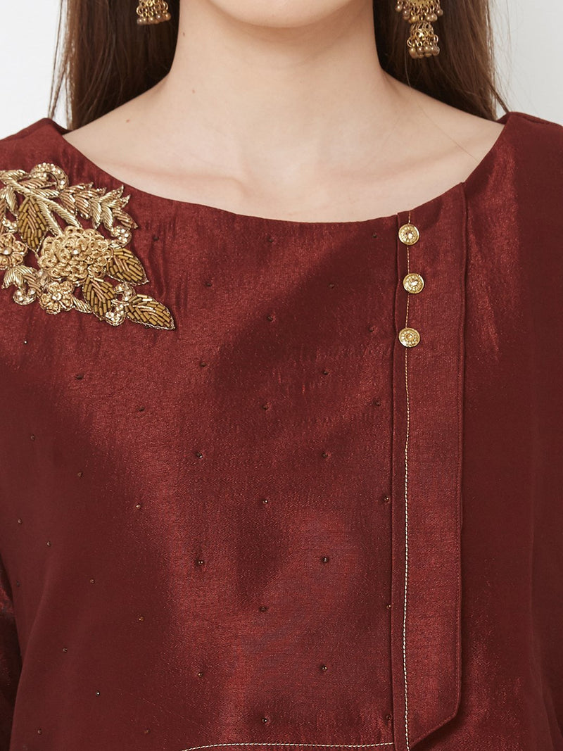 ZOLA Synthetic Asymmetrical Long Kurti with Embroidery