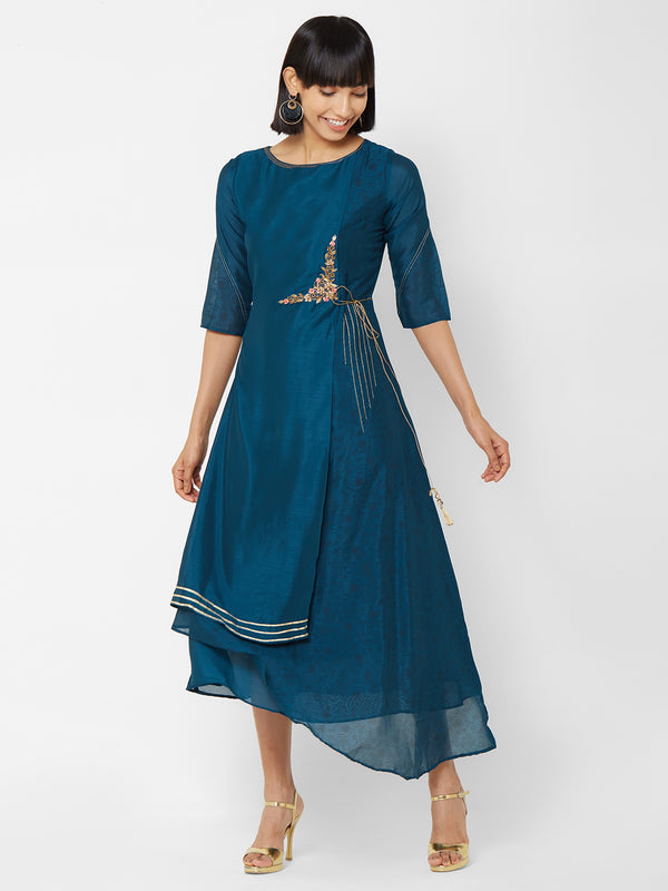 ZOLA Asymmetrical Kurti with Embroidery + Tie Up
