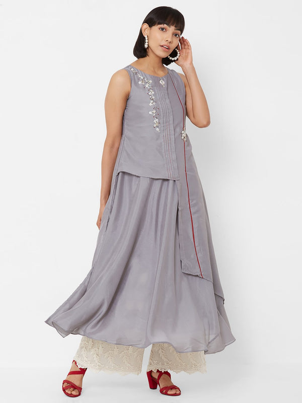 ZOLA Two-Layered Asymmetric Kurti with Embellishments