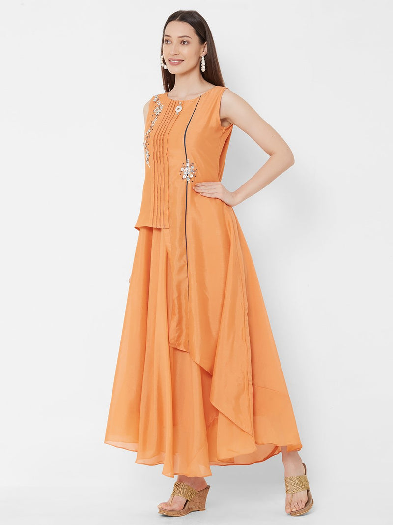 ZOLA Orange Synthetic Long Asymmetrical & Layered Kurti with Embroidery