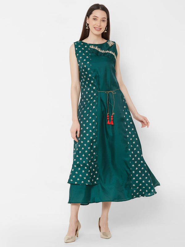 ZOLA  Synthetic Long Layered Kurti with Embroidery & Tasseled Tie-Up