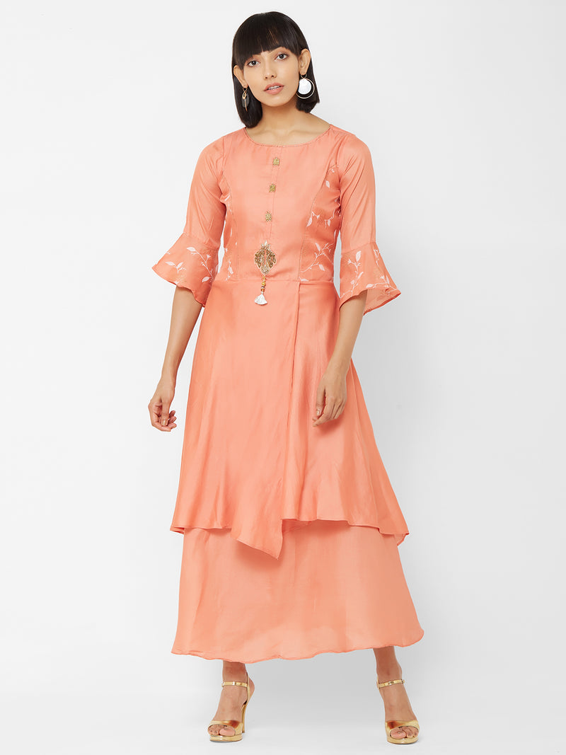 ZOLA Peach Layered Long Kurti with Embellishments + Bell Sleeves