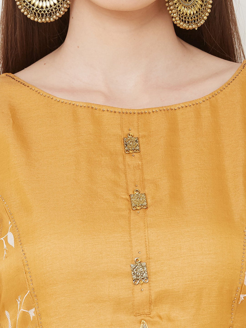 ZOLA Yellow Synthetic Long Asymmetrical & Layered Kurti with Embroidery