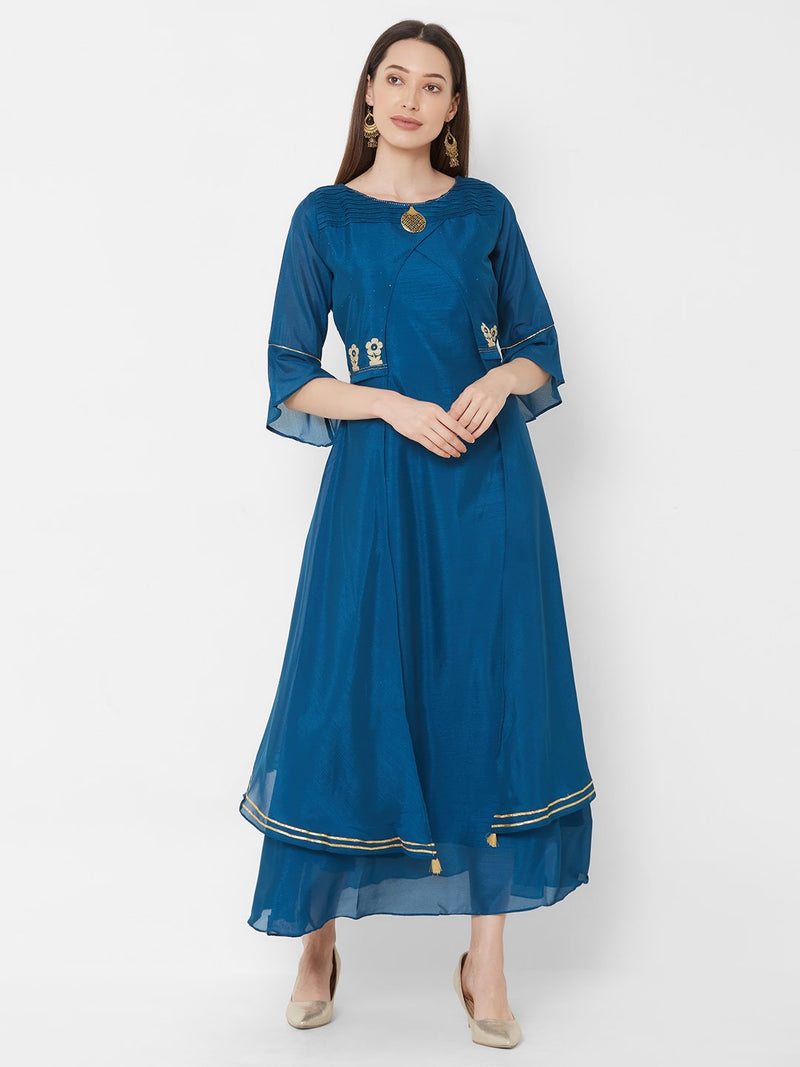 ZOLA Blue Synthetic Long Fancy Kurti with Embroidery & Bell Sleeves