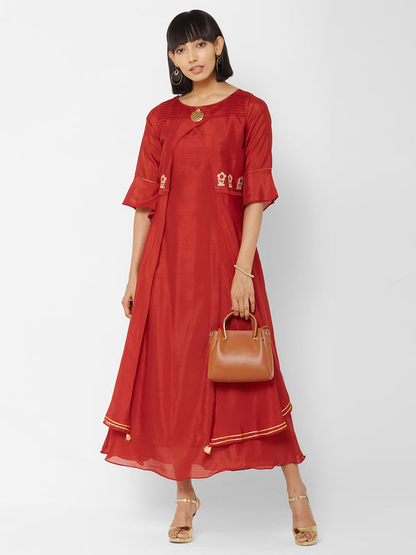 ZOLA Rust Layered Long Kurti with Embellishments + Bell Sleeves