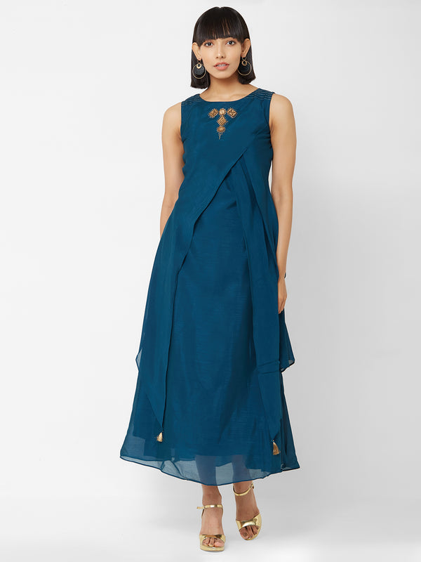 ZOLA Blue Asymmetric Layered Kurti with Embellishments
