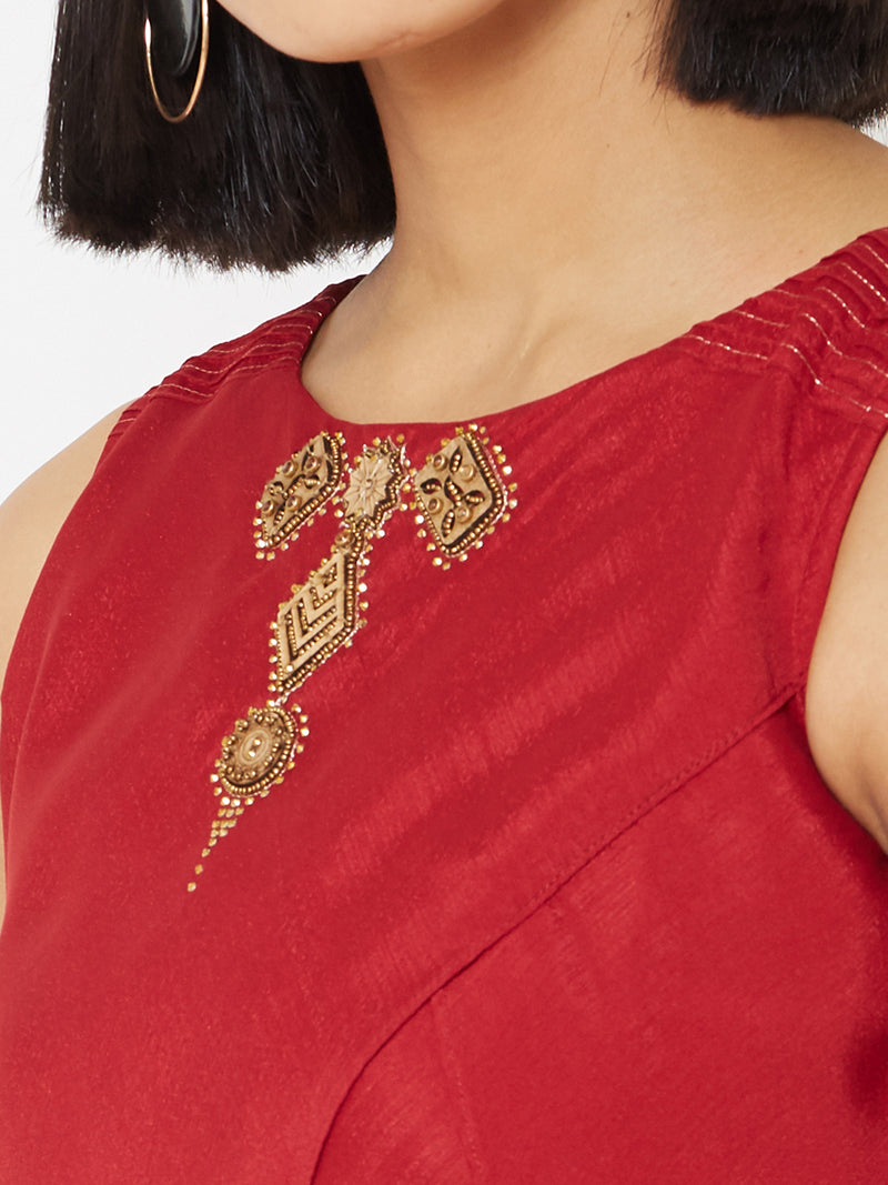ZOLA Red Asymmetric Layered Kurti with Embellishments