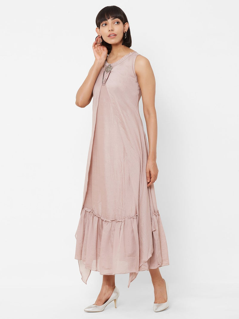 Two-Layered Long Asymmetric Kurti with Embellishments Lilac