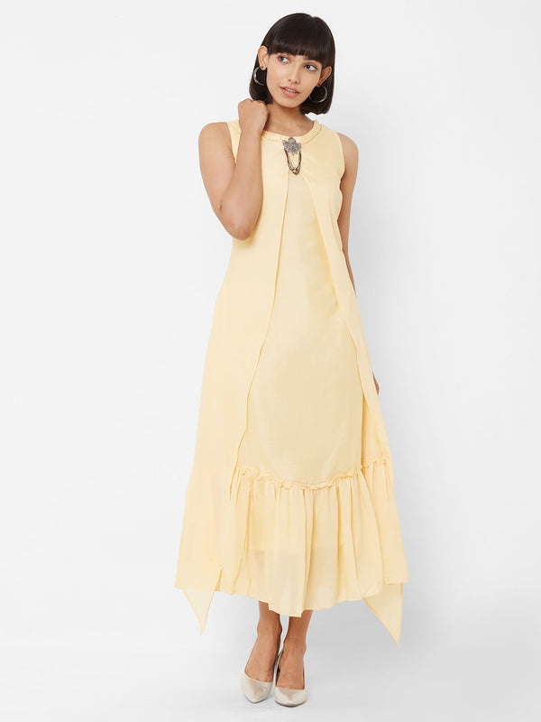 Two-Layered Long Asymmetric Kurti with Embellishments Yellow
