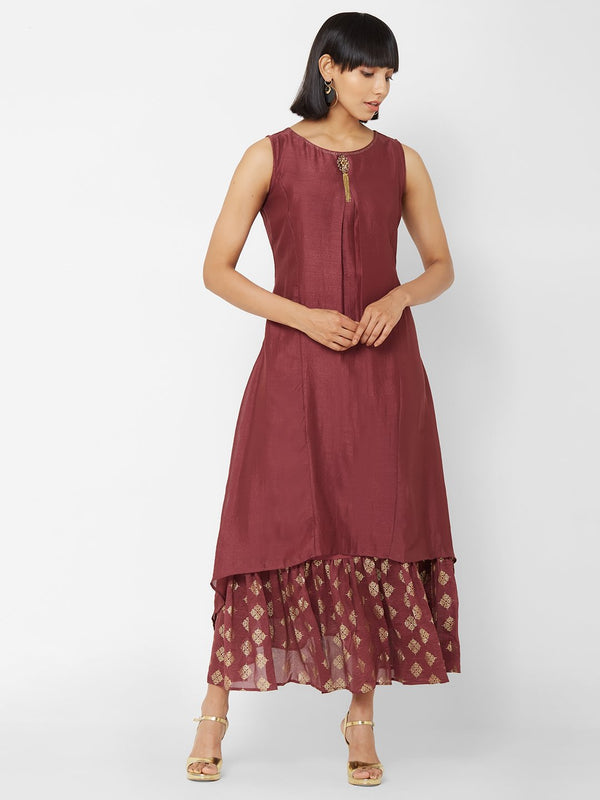 ZOLA Two-Layered Long Asymmetric Kurti with Embellishments