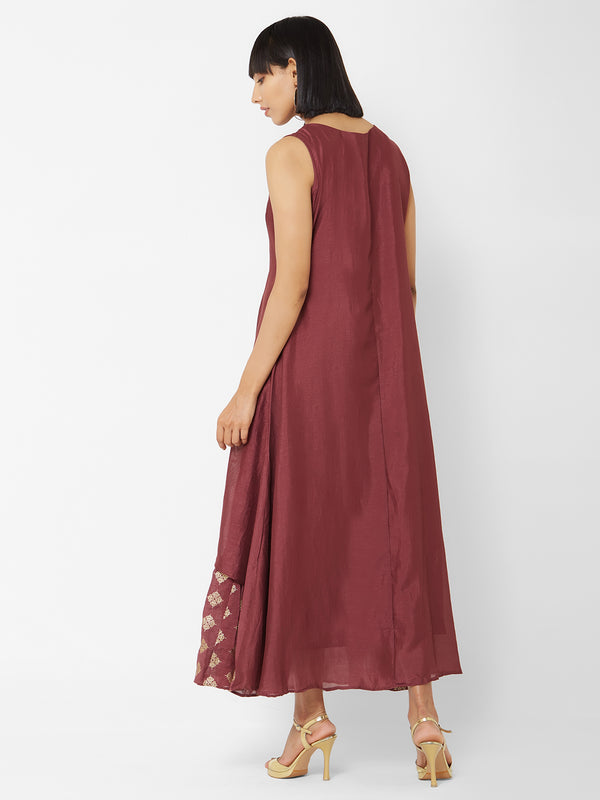 ZOLA Wine Layered Long Kurti with Embellishments
