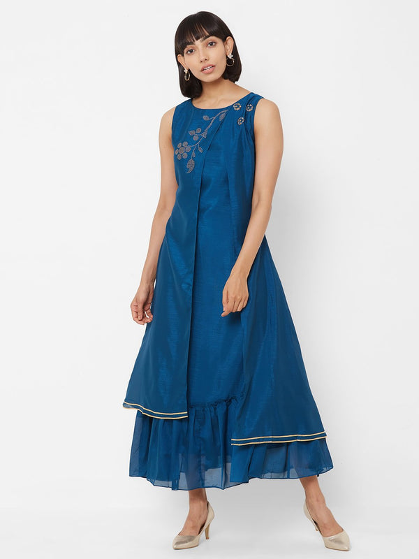Two-Layered Long Asymmetric Kurti with Embellishments Blue
