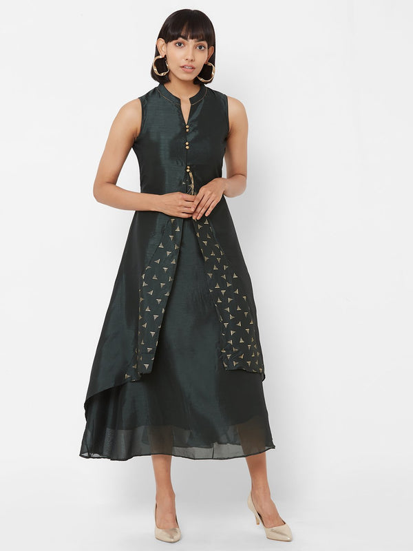 ZOLA Two-Layered Flared Kurti with Embroidery