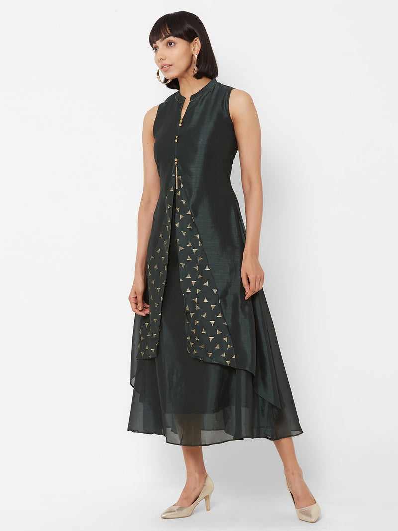 Two-Layered Flared Kurti with Embroidery Bottle Green