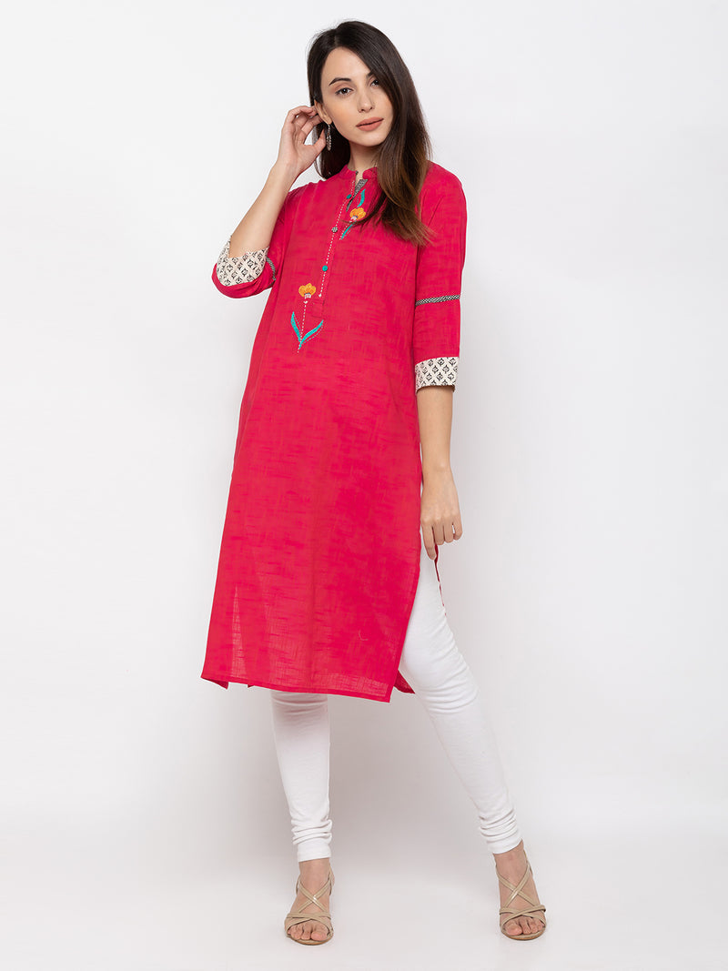 Pink Cotton Chinese Collar Straight Kurti