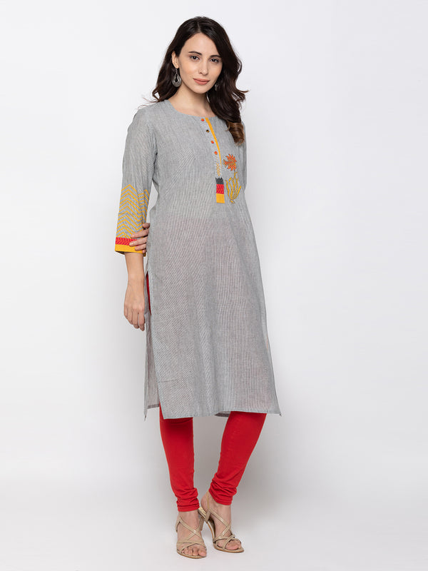 ZOLA Stylish Grey Cotton Straight Kurti