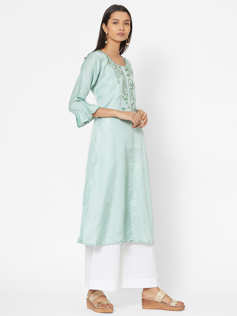 ZOLA Embroidered Bell Sleeves Kurta for Women
