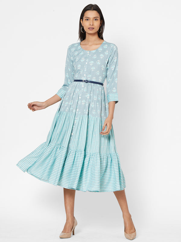 ZOLA Blue Flared Dress with Belt for Women