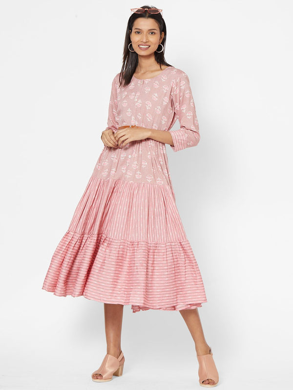 ZOLA Pink Flared Dress with Belt for Women