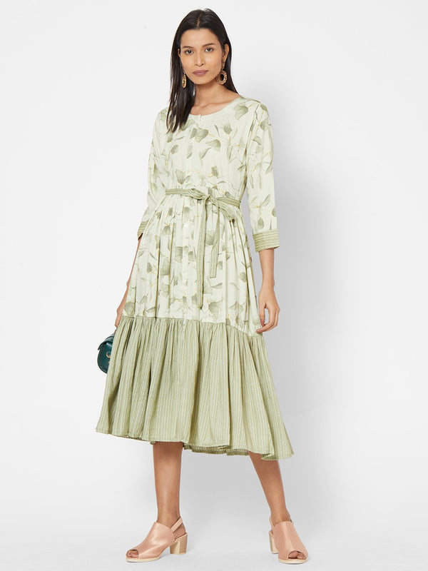 ZOLA Green Flared Dress with Belt for Women