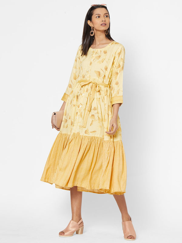 ZOLA Yellow Flared Dress with Belt for Women