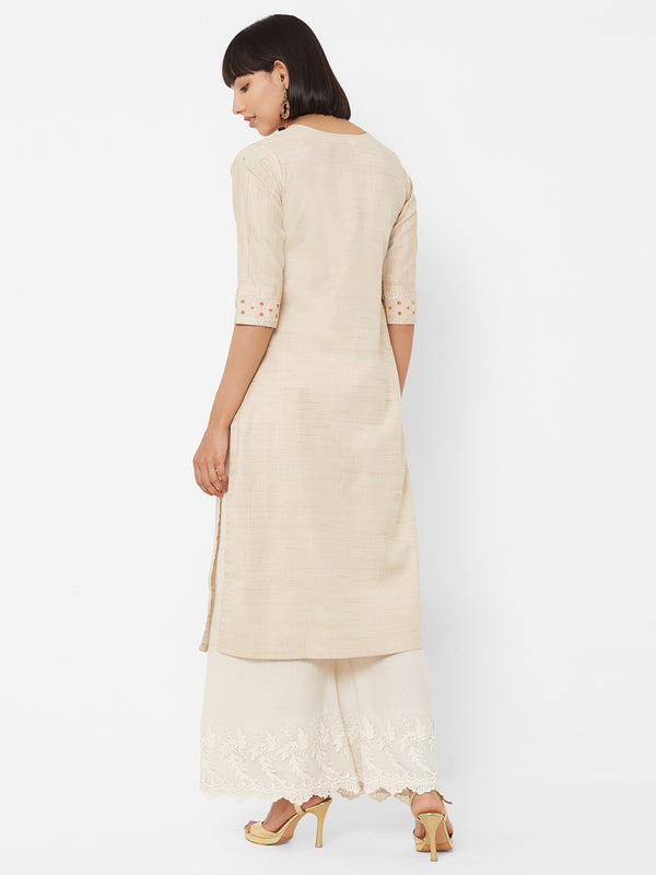 ZOLA Straight Beige Kurti with Embroidery Details