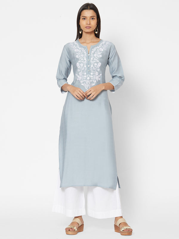 ZOLA Embroidered Straight Fit Kurta for Women