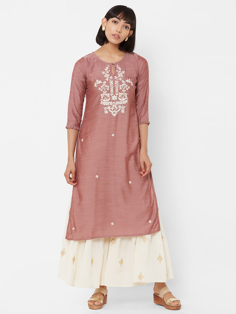 ZOLA Silk Mauve Kurti with Embroidery Details
