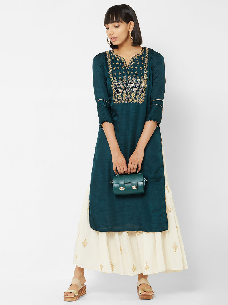 ZOLA Bottle Green Solid Kurti with Embroidered Yoke