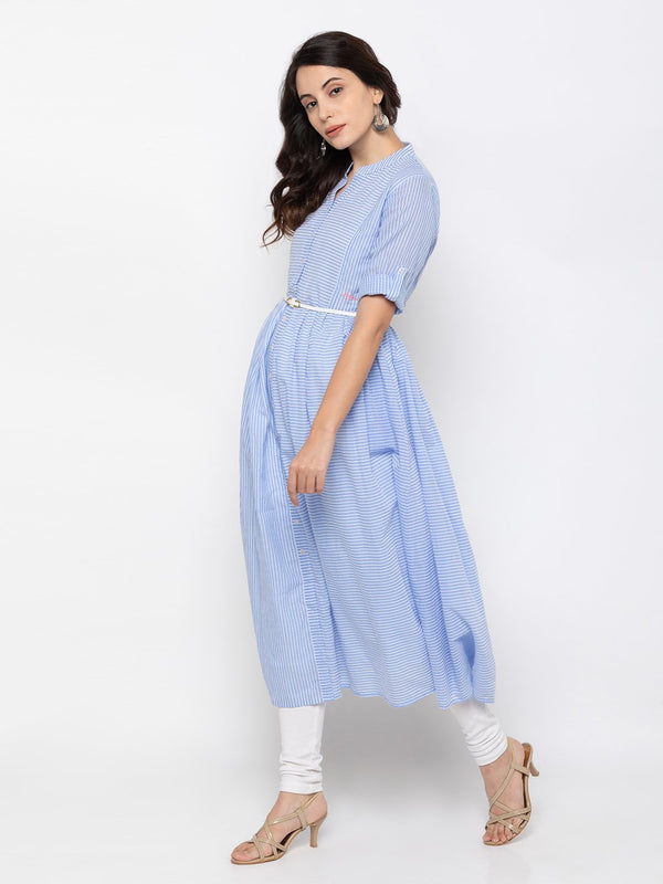 Sky Blue Cambric Cotton Chinese Collar Striped Kurti