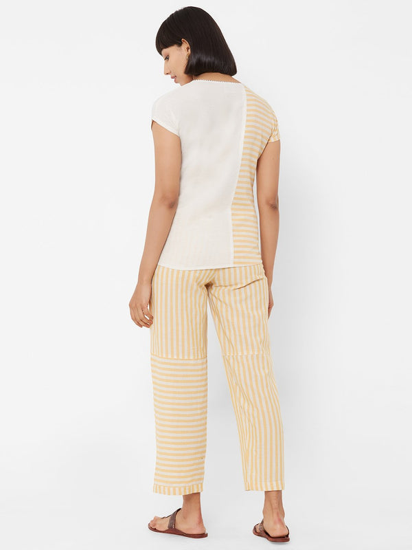 ZOLA Striped Yellow Top + Pant Set + Pockets+Embellishments