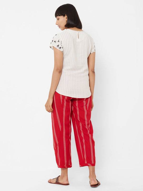 ZOLA Printed Top + Chic Striped Pants