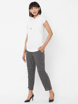 ZOLA White Top paired with Checks Pant Set