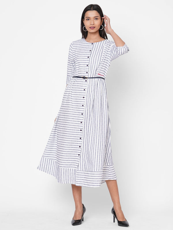 ZOLA White Striped Cotton Round Neck Dress for Women